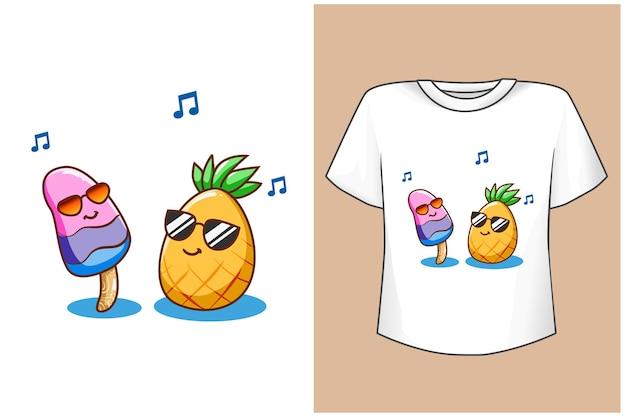 Conception de t-shirt maquette drôle d'ananas et de crème glacée
