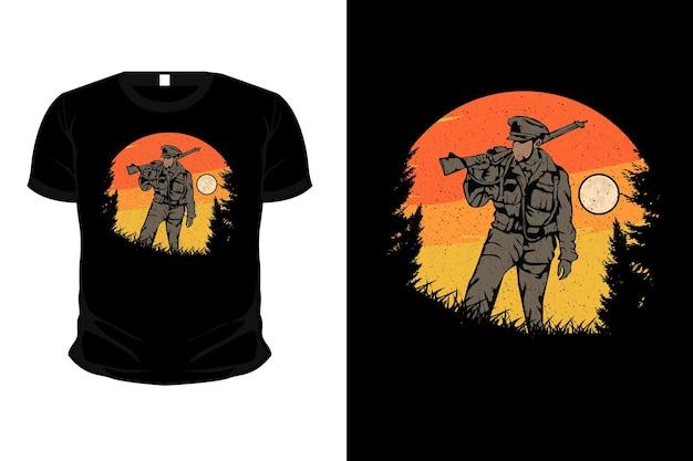 Conception de t-shirt de maquette d'illustration de marchandise de l'armée dans la montagne