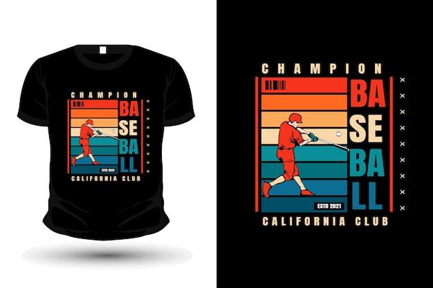 Conception de t-shirt de maquette d'illustration de marchandise de club de californie de champion de baseball