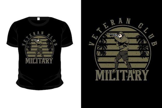 Conception de t-shirt de maquette d'illustration militaire de club vétéran