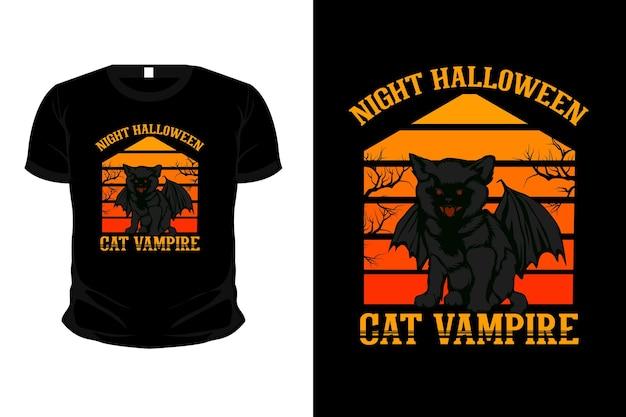 Conception de t-shirt de maquette d'illustration de vampire chat halloween nuit