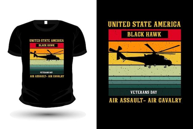 Conception de t-shirt de maquette de silhouette de marchandise de l'armée de l'air américaine des états-unis
