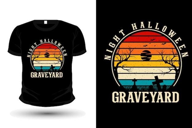 Conception de t-shirt de maquette de silhouette de marchandise de cimetière d'halloween de nuit