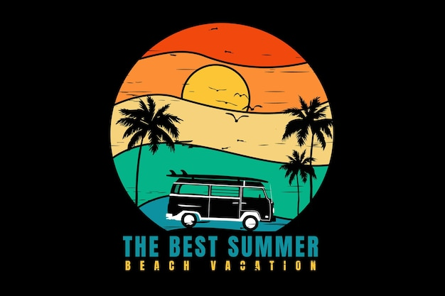 Conception de t-shirt avec les meilleures vacances d'été à la plage en silhouette rétro