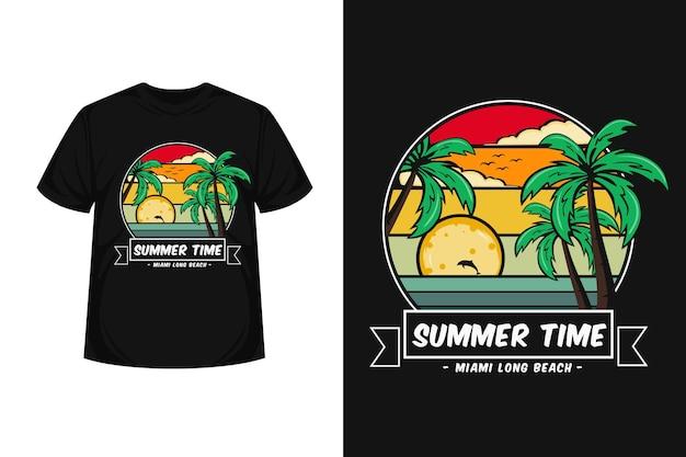Conception de t-shirt merchendise d'illustration de longue plage de l'heure d'été de miami