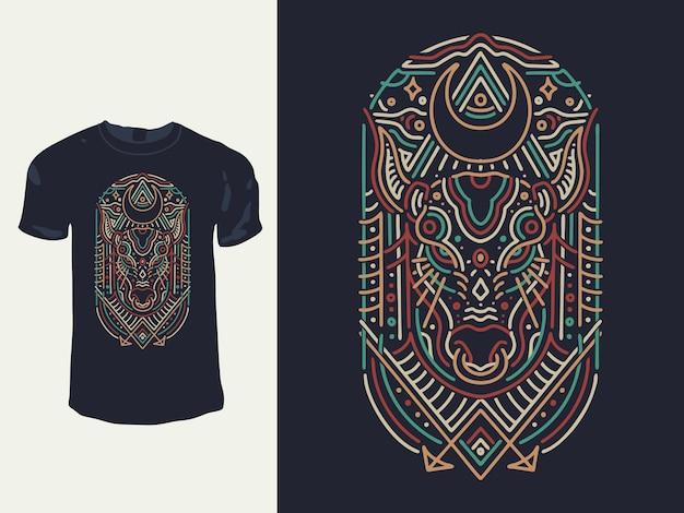 Conception de t-shirt monoline de géométrie de vache taureau lunaire