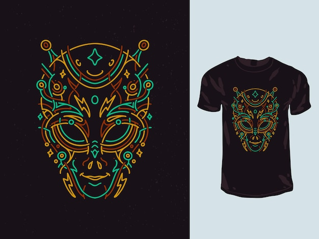 Conception de t-shirt monoline de géométrie de visage de tête extraterrestre