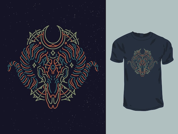 Conception de t-shirt monoline néon de chèvre de géométrie