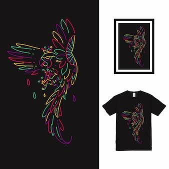Conception de t-shirt monoline d'oiseau volant.