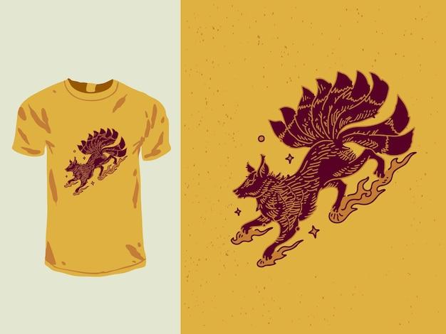 Conception de t-shirt monoline renard roux à neuf queues