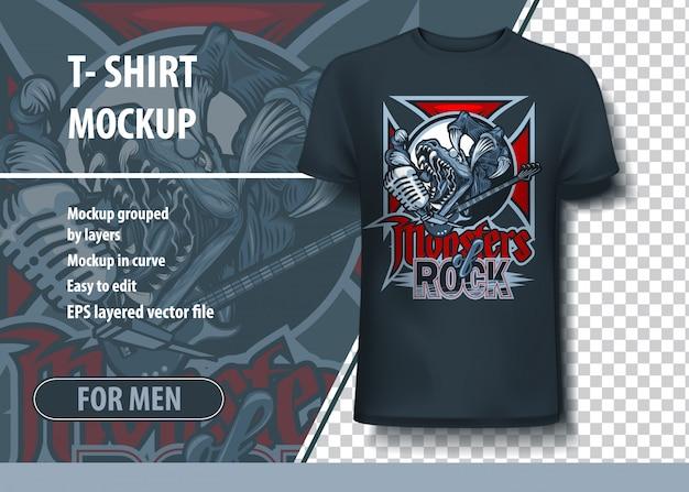 Conception de t-shirt monsters of rock avec une créature agressive et un microphone.