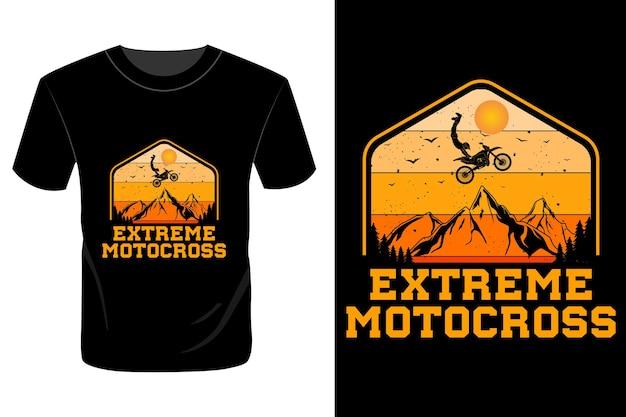 Conception de t-shirt de motocross extrême rétro vintage