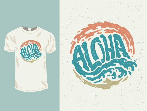 Conception de t-shirt de mots hawaïens aloha