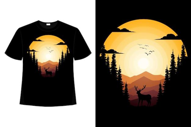 Conception de t-shirt de nature cerf montagne pin beau ciel plat rétro illustration vintage
