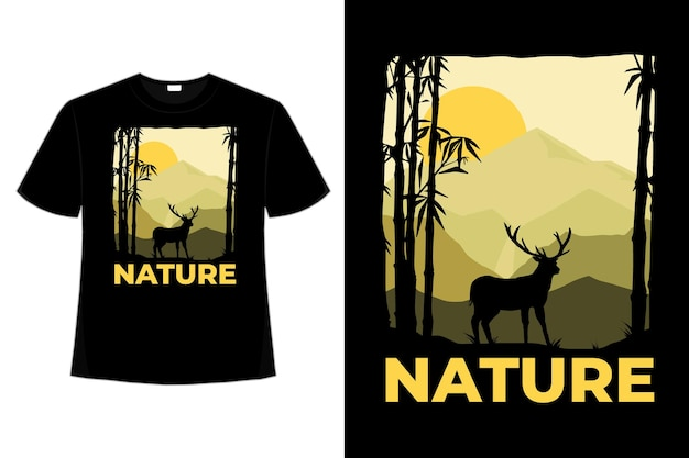 Conception de t-shirt de nature cerf montagne plat style rétro illustration vintage dessinés à la main
