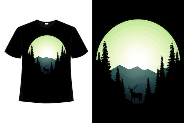 Conception de t-shirt de nature sauvage pin montagne cerf illustration vintage rétro plat