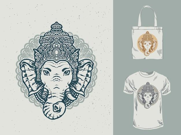Conception de t-shirt noir et blanc ganesha mandala