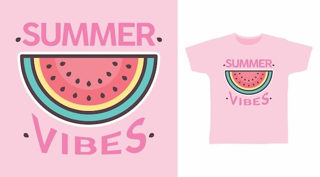 Conception de t-shirt pastèque à vibrations estivales