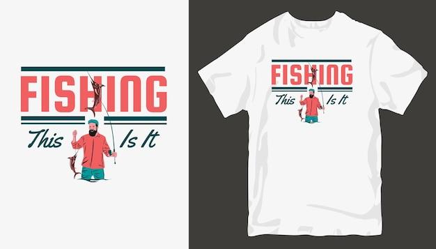 Conception de t-shirt de pêche.