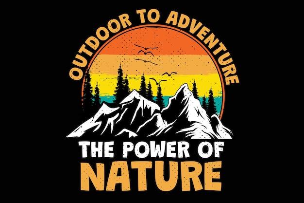 Conception de t-shirt avec pin d'aventure nature explorer en plein air dans un style rétro vintage