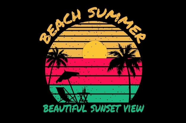 Conception de t-shirt avec plage été beau coucher de soleil dans un style rétro