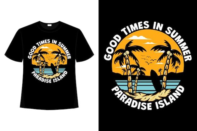 Conception de t-shirt de la plage de l'île paradisiaque du bon temps dessiné à la main dans un style rétro