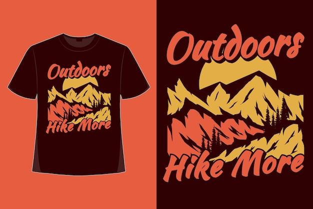 Conception de t-shirt de randonnée en plein air plus illustration vintage de style dessiné à la main nature montagne