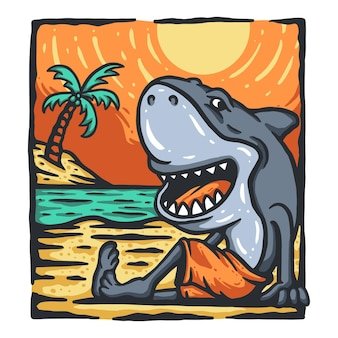 Conception de t-shirt de requin de dessin animé