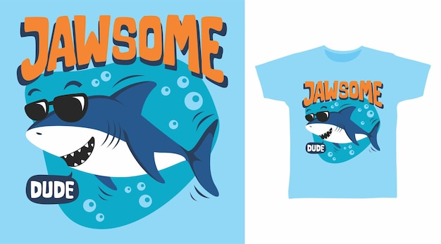 Conception de t-shirt de requin de mec jawsome