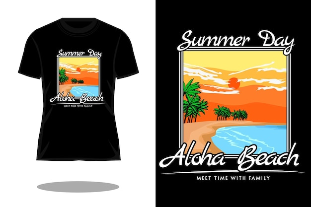 Conception de t-shirt rétro aloha beach