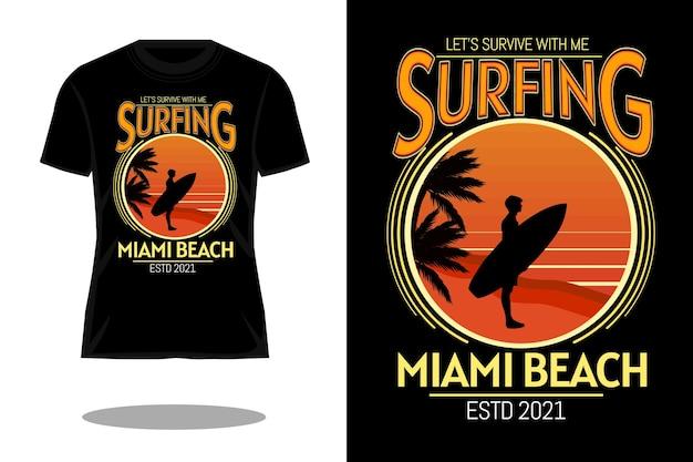 Conception de t-shirt rétro de plage de surf de miami