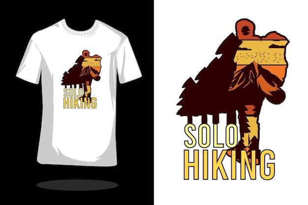 Conception de t-shirt rétro silhouette randonnée solo
