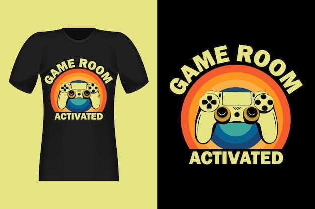Conception de t-shirt rétro vintage dessinés à la main pour salle de jeux