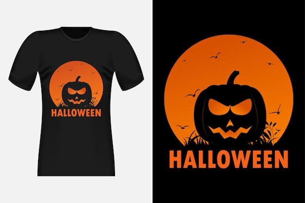 Conception de t-shirt rétro vintage halloween avec silhouette de citrouille