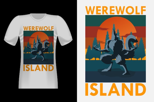 Conception de t-shirt rétro vintage loup-garou