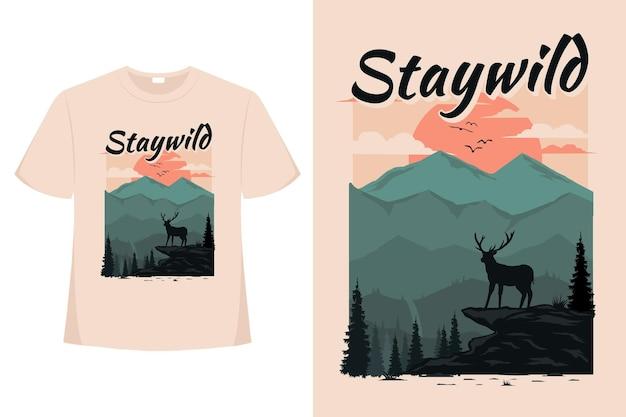 Conception de t-shirt de séjour cerf sauvage nature pin de montagne plat rétro style vintage illustration