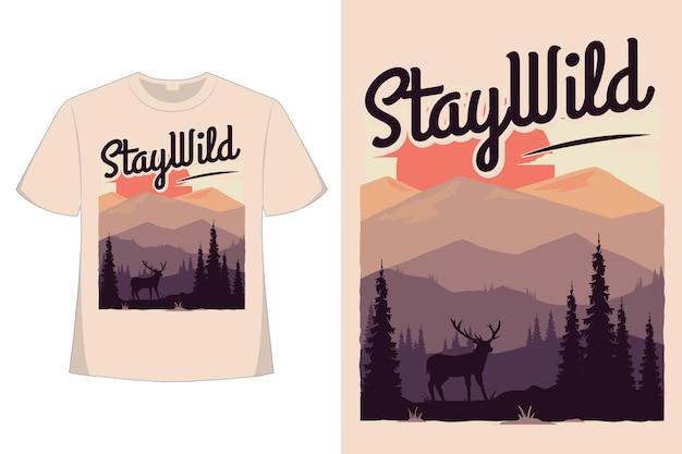 Conception de t-shirt de séjour montagne sauvage plat style rétro illustration vintage dessinés à la main