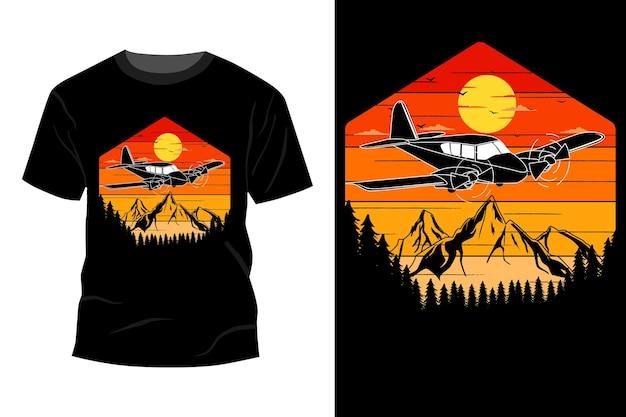 Conception de t-shirt silhouette avion rétro vintage