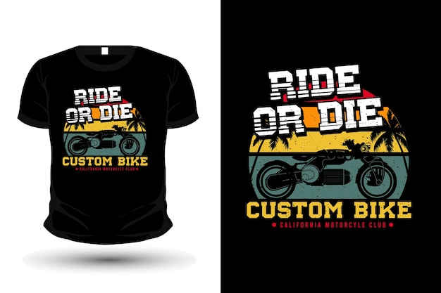 Conception de t-shirt de silhouette de marchandise de club de californie de vélo personnalisé
