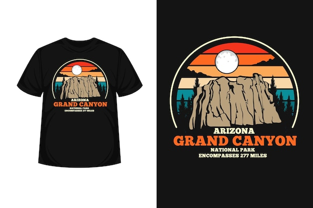 Conception de t-shirt silhouette de marchandise grand canyon arizona