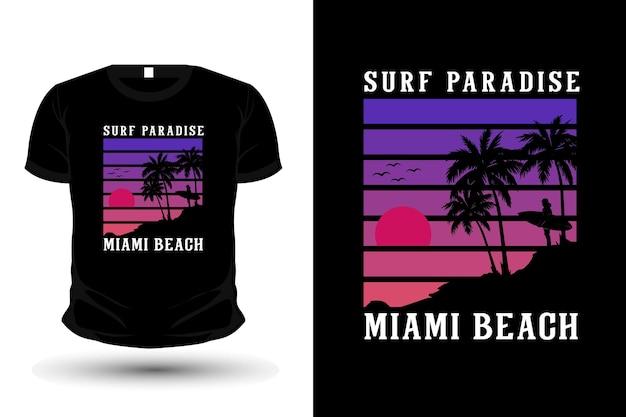 Conception de t-shirt de silhouette de marchandise de plage de miami de paradis de surf
