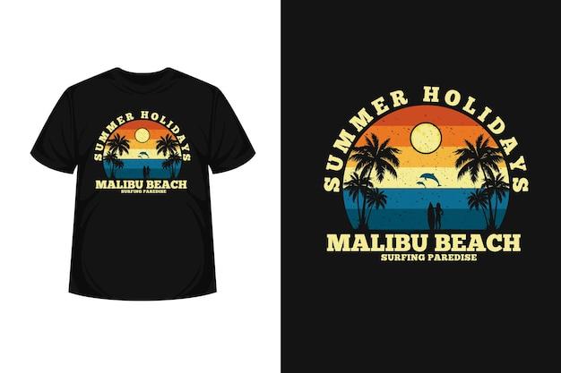 Conception de t-shirt silhouette de marchandise de surf d'été pour femmes