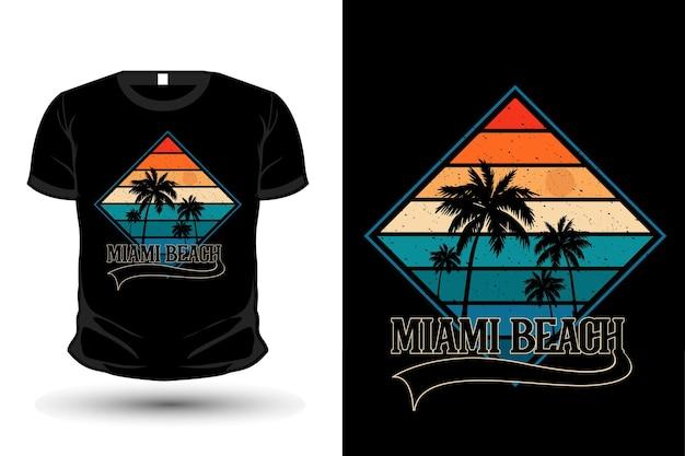 Conception de t-shirt silhouette de marchandises de plage de miami