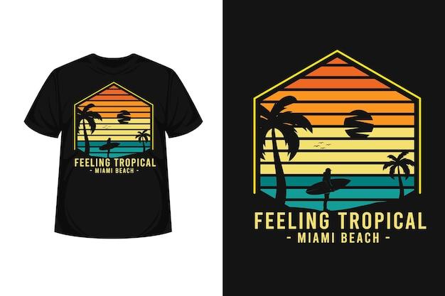 Conception de t-shirt silhouette de merchandising surf tropical surf miami beach