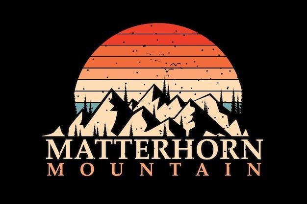 Conception de t-shirt avec silhouette montagne dans un pin coucher de soleil de style rétro