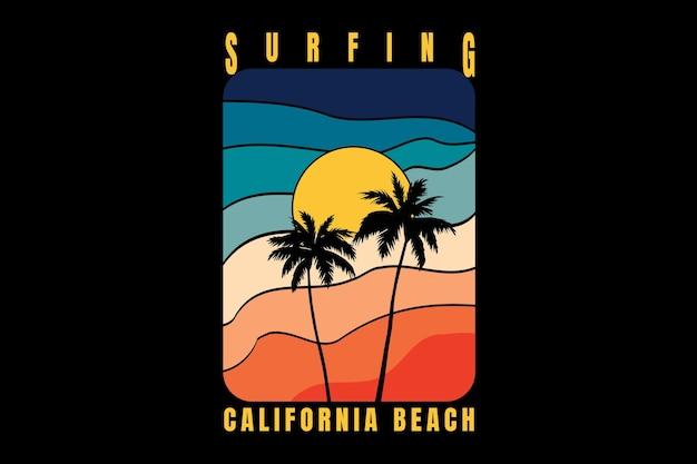 Conception de t-shirt avec silhouette plage californie dans un style rétro vintage en rétro