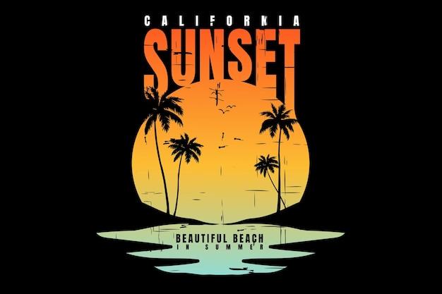 Conception de t-shirt avec silhouette plage coucher de soleil californie beau vintage