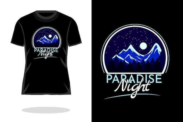 Conception de t-shirt silhouette rétro de nuit paradisiaque