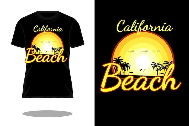 Conception de t-shirt silhouette rétro de plage de californie