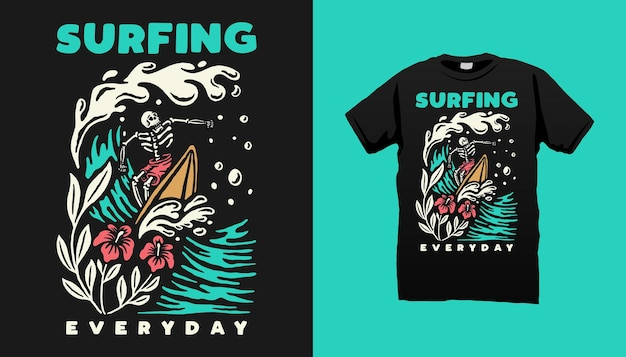 Conception de t-shirt squelette de surf